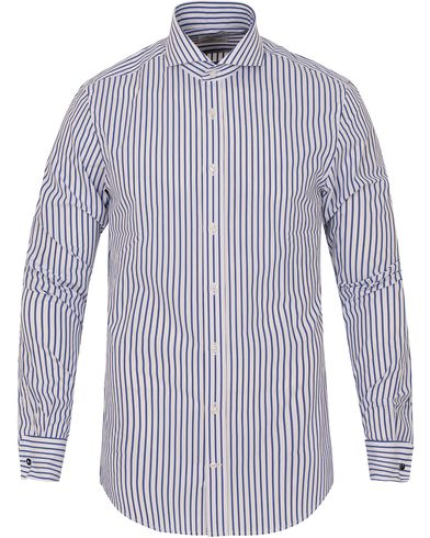 Stenströms Slimline Striped Double Cuff Shirt White/Blue i gruppen Skjortor / Formella skjortor hos Care of Carl (13056111r)