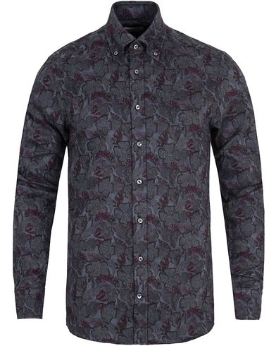 Stenströms Slimline Flannel Printed Shirt Dark Grey i gruppen Kläder / Skjortor / Flanellskjortor hos Care of Carl (13056311r)