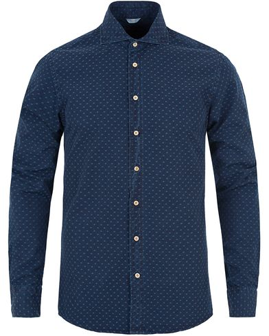 Stenströms Slimline Garment Washed Dot Shirt Dark Blue i gruppen Skjorter / Jeansskjorter hos Care of Carl (13056611r)