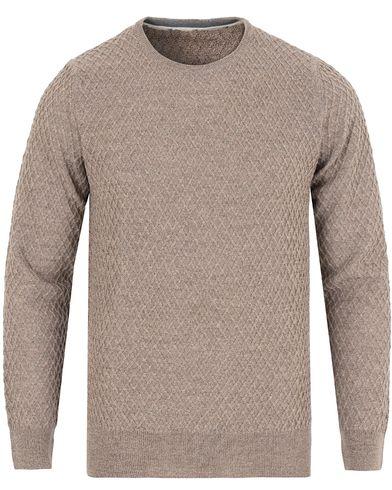 Stenströms Crew Neck Waffle Weave Beige i gruppen Kläder / Tröjor / Pullovers / Rundhalsade pullovers hos Care of Carl (13057311r)