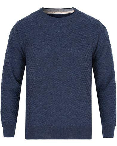 Stenströms Crew Neck Waffle Weave Blue i gruppen Gensere / Pullover / Pullovere rund hals hos Care of Carl (13057411r)
