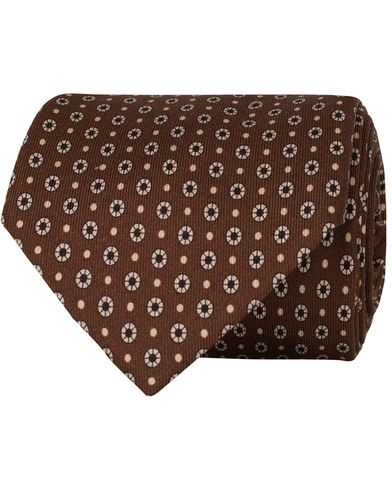 Stenströms Medallion Silk 8 cm Tie Brown  i gruppen Assesoarer / Slips hos Care of Carl (13060310)