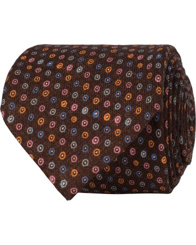 Stenströms Medallion Wool 8 cm Tie Brown  i gruppen Accessoarer / Slipsar hos Care of Carl (13060510)