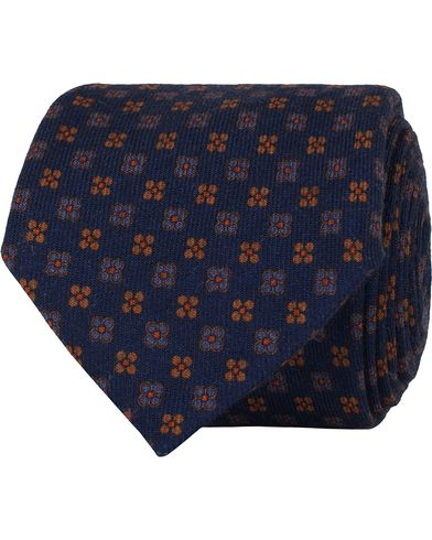 Stenströms Medallion Wool 8 cm Tie Blue  i gruppen Accessoarer / Slipsar hos Care of Carl (13060610)
