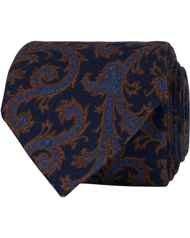 Stenströms Paisley Wool 8 cm Tie Blue  i gruppen Accessoarer / Slipsar hos Care of Carl (13060710)