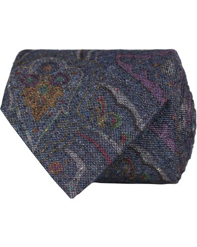 Stenströms Paisley Silk/Cotton 8 cm Tie Blue  i gruppen Assesoarer / Slips hos Care of Carl (13060810)