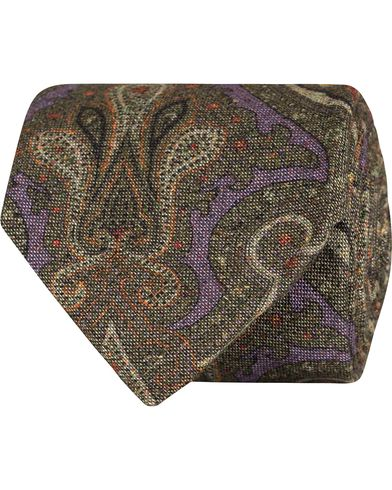 Stenströms Paisley Silk/Cotton 8 cm Tie Green  i gruppen Accessoarer / Slipsar hos Care of Carl (13060910)