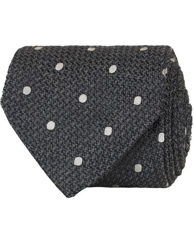 Stenstr�ms Knitted Dot Silk 8 cm Tie Grey  i gruppen Accessoarer / Slipsar hos Care of Carl (13061310)