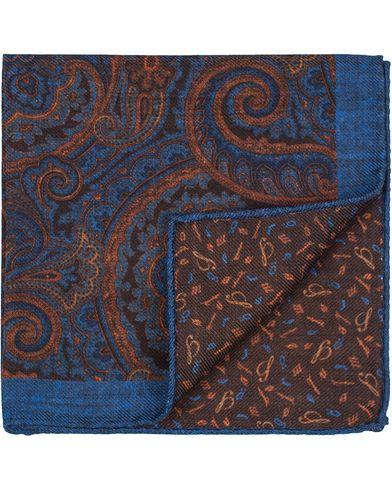Stenströms Doublefaced Paisley Wool Pocket Square Blue/Brown  i gruppen Assesoarer / Lommetørklær hos Care of Carl (13062210)