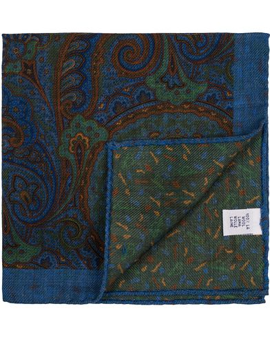 Stenströms Doublefaced Paisley Wool Pocket Square Blue/Green  i gruppen Assesoarer / Lommetørklær hos Care of Carl (13062310)