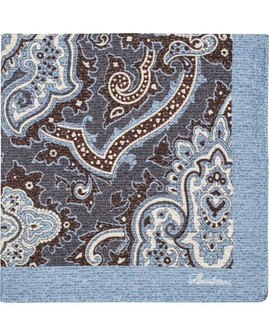 Stenströms Doublefaced Paisley Wool/Silk Pocket Square Blue  i gruppen Accessoarer / Näsdukar hos Care of Carl (13062410)