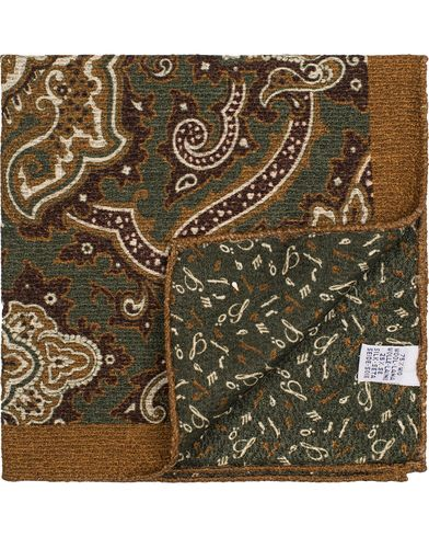 Stenströms Doublefaced Paisley Wool/Silk Pocket Square Green  i gruppen Assesoarer / Lommetørklær hos Care of Carl (13062510)
