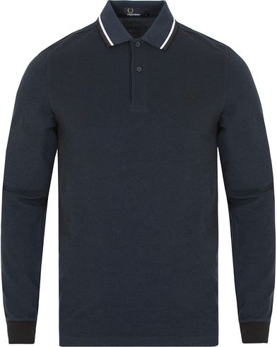 Fred Perry Slim Fit Polo Twin Tip Long Sleeve Service Blue i gruppen Pikéer / Långärmade pikéer hos Care of Carl (13063211r)