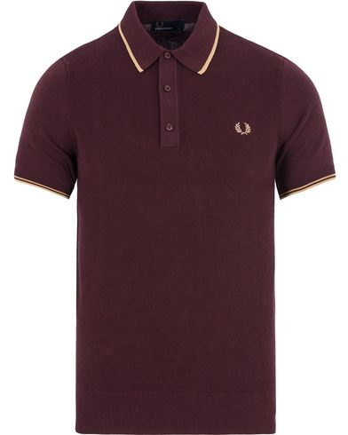 Fred Perry Slim Fit Knitted Polo Twin Tip Port Marl i gruppen Design A / Pikéer / Kortermet piké hos Care of Carl (13063411r)