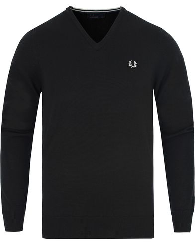 Fred Perry Classic Merino Tip V-Neck Black i gruppen Gensere / Pullover / Pullovers v-hals hos Care of Carl (13063711r)