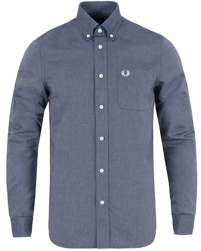 Fred Perry Classic Fit Oxford Shirt Dark Carbon i gruppen Skjortor / Oxfordskjortor hos Care of Carl (13064211r)
