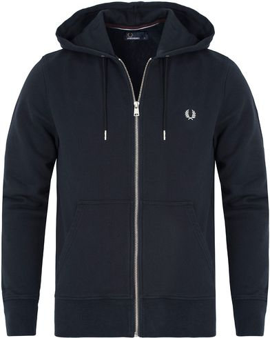Fred Perry Loopback Hoodie Sweat Navy i gruppen Klær / Gensere / Hettegensere hos Care of Carl (13064611r)