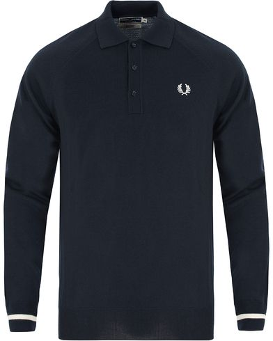 Fred Perry Reissues Made In Italy Knitted Polo Navy i gruppen Pik�er / L�ng�rmad Pik� hos Care of Carl (13065411r)