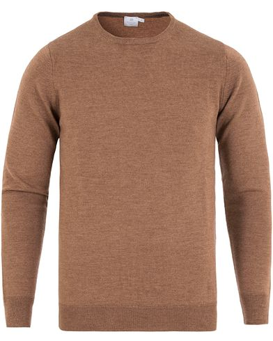 Sunspel Merino Crew Neck Pullover Copper Brown Melange i gruppen Gensere / Pullover / Pullover rund hals hos Care of Carl (13067711r)