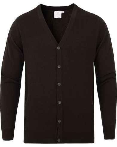 Sunspel Merino Cardigan Brown Melange i gruppen Gensere / Cardigans hos Care of Carl (13068011r)