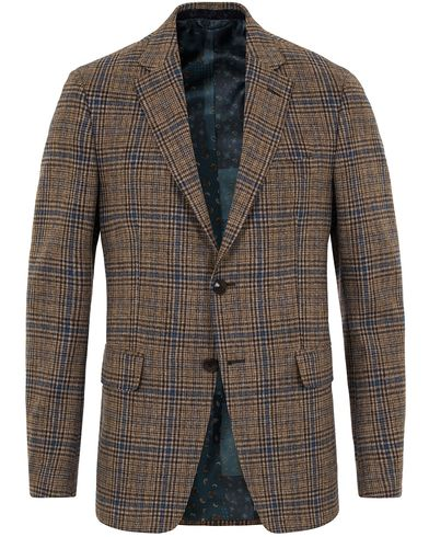 Etro Slim Fit Wool Check Blazer Medium Brown/Navy i gruppen Kläder / Kavajer / Enkelknäppta kavajer hos Care of Carl (13068411r)