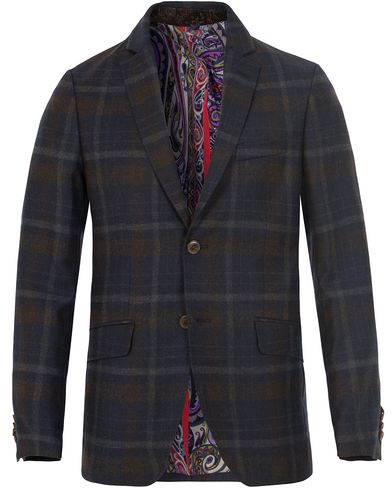 Etro Unconstructed Check Wool Blazer Brown/Blue i gruppen Kavajer / Enkelknäppta kavajer hos Care of Carl (13068611r)