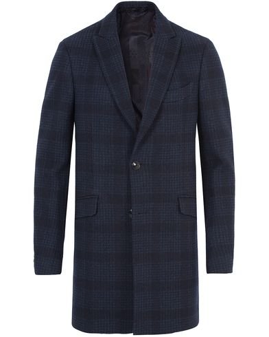 Etro Glenncheck Wool Coat Dark Blue i gruppen Jakker / Frakker hos Care of Carl (13068911r)