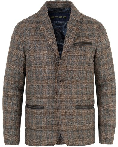 Etro Brushed Wool Checked Down Blazer  Light Brown i gruppen Klær / Jakker / Vatterte jakker hos Care of Carl (13069111r)