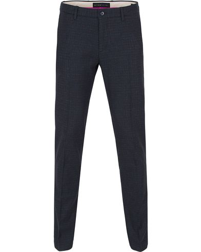 Etro Slim Fit Micro Check Wool Trousers Dark Blue i gruppen Byxor / Flanellbyxor hos Care of Carl (13069311r)