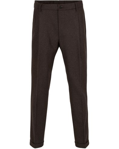 Etro Double Plaited Flannel Trousers Dark Brown i gruppen Bukser / Flanellbukser hos Care of Carl (13069411r)