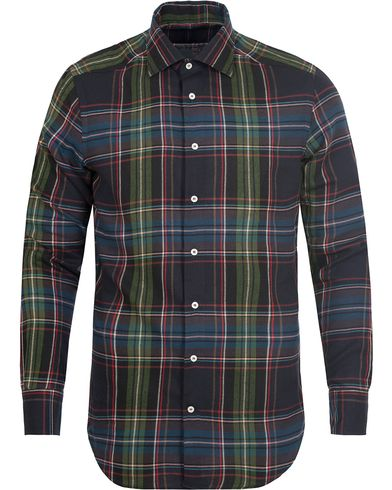 Etro Slim Fit Checked Flannel Shirt Dark Blue i gruppen Klær / Skjorter / Flanellskjorter hos Care of Carl (13069911r)