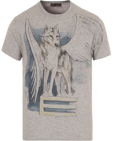 Etro Winged Wolf Cotton T-shirt Grey i gruppen Design A / T-Shirts / Kortermede t-shirts hos Care of Carl (13070511r)
