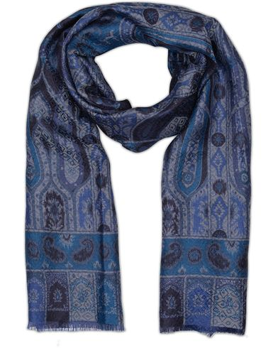 Etro Wool/Silk Paisley Pattern Scarf Dark Blue  i gruppen Accessoarer / Scarves hos Care of Carl (13070610)
