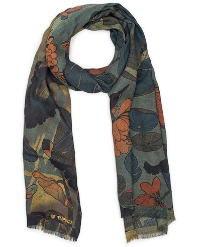 Etro Wool Floral Scarf Green  i gruppen Accessoarer / Scarves hos Care of Carl (13071010)
