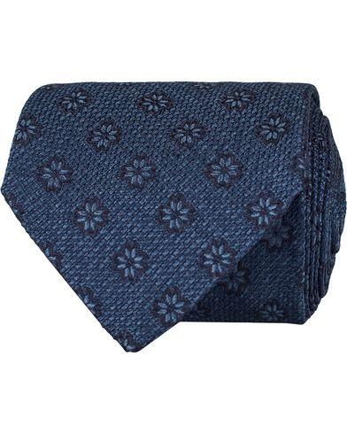Etro Woven Flower 8 cm Silk Tie Blue i gruppen Accessoarer / Slipsar hos Care of Carl (13071310)