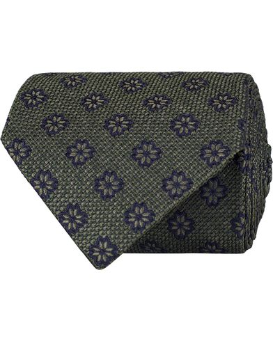 Etro Woven Flower 8 cm Silk Tie Green i gruppen Accessoarer / Slipsar hos Care of Carl (13071410)