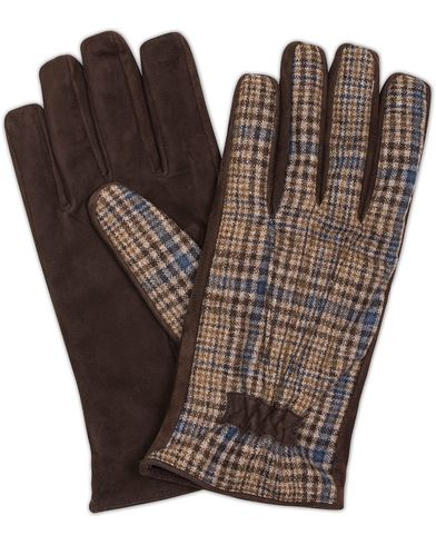 Etro Tweed/Leather Gloves Dark Brown i gruppen Assesoarer / Hansker hos Care of Carl (13071711r)