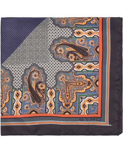 Etro Paisley Pocket Square Dark Blue  i gruppen Assesoarer / Lommetørklær hos Care of Carl (13071810)