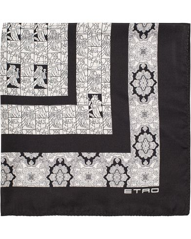 Etro Printed Person Pocket Square Black/White  i gruppen Accessoarer / Näsdukar hos Care of Carl (13072010)