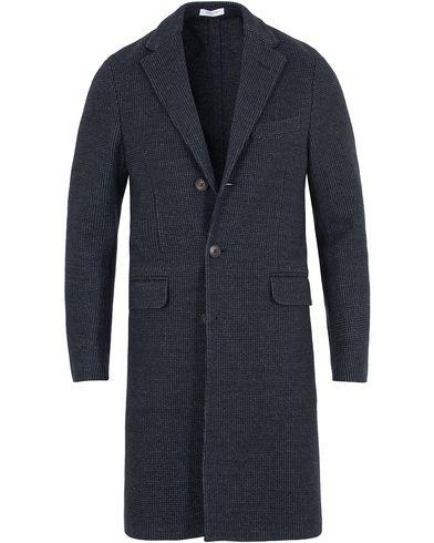 Boglioli Micro Check Wool Coat Dark Blue i gruppen Jackor / Vinterjackor hos Care of Carl (13073311r)
