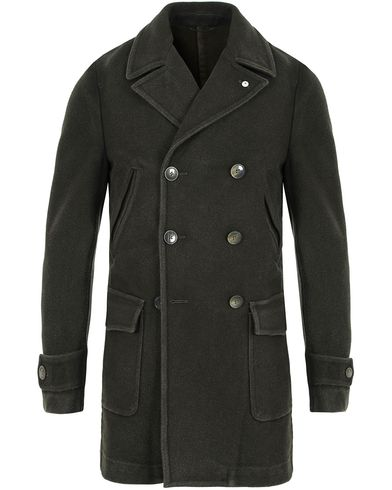 L.B.M. 1911 Wool Double Breasted Coat Dark Loden Green i gruppen Kläder / Jackor / Vinterjackor hos Care of Carl (13073711r)
