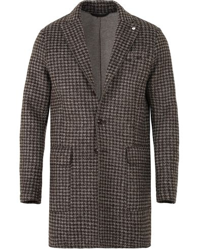L.B.M. 1911 Wool/Jersey Houndstooth Coat Dark Brown i gruppen Klær / Jakker / Frakker hos Care of Carl (13073811r)