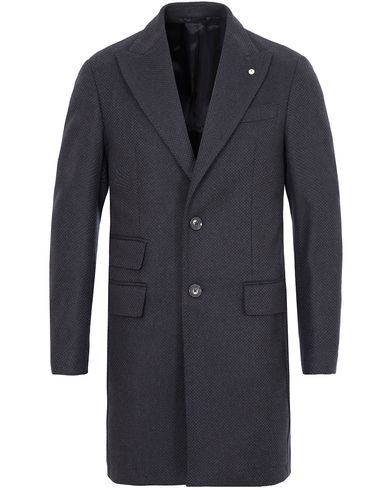 L.B.M. 1911 Wool/Jersey  Peak Lapel Coat Dark Blue i gruppen Jackor / Rockar hos Care of Carl (13073911r)