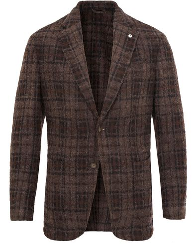 L.B.M. 1911 Jack Regular Wool Bouclé Check Blazer Dark Brown i gruppen Kavajer / Enkelknäppta kavajer hos Care of Carl (13074111r)