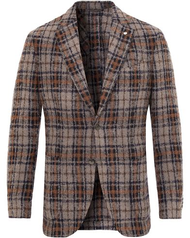 L.B.M. 1911 Jack Regular Wool Bouclé Check Blazer Grey i gruppen Design A / Dressjakker / Enkeltspente dressjakker hos Care of Carl (13074211r)