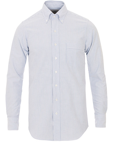 Drake's Slim Fit Oxford BD Stripe Shirt Blue i gruppen Skjorter / Oxfordskjorter hos Care of Carl (13076911r)