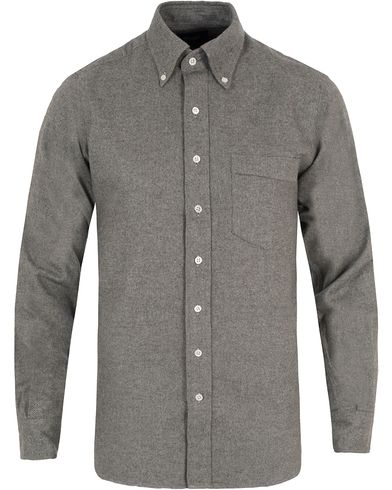 Drake's Regular Fit Flannel BD Shirt Grey i gruppen Kläder / Skjortor / Flanellskjortor hos Care of Carl (13077211r)
