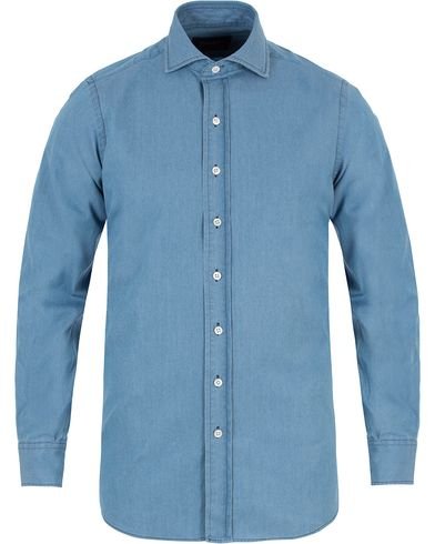 Drake's Regular Fit Washed Denim Shirt Blue i gruppen Klær / Skjorter / Jeansskjorter hos Care of Carl (13077311r)
