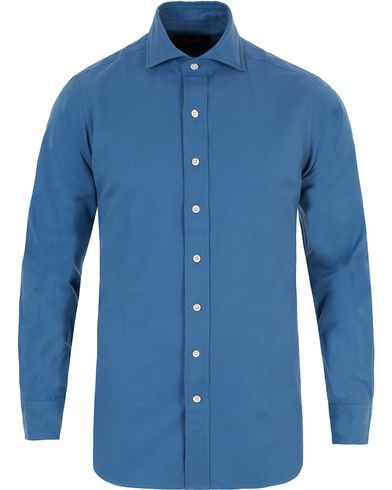 Drake's Regular Fit Flannel Shirt Blue i gruppen Skjorter / Flanellskjorter hos Care of Carl (13077411r)