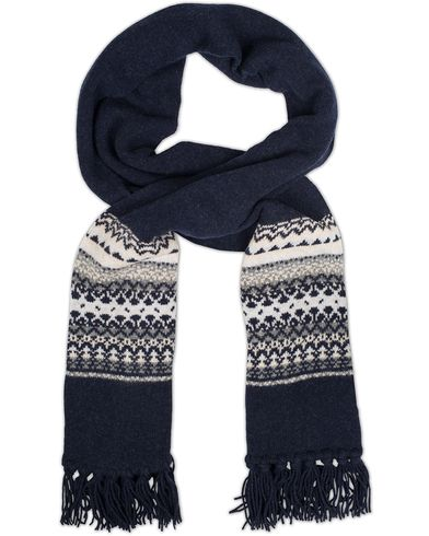 Drake's Fairisle Tubular Knit Scarf Blue/White  i gruppen Accessoarer / Halsdukar hos Care of Carl (13077810)